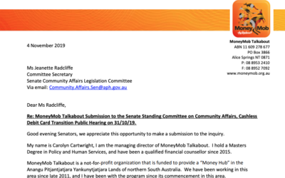 Submission made to the Senate Community Affairs Committee on Cashless Debit Cards